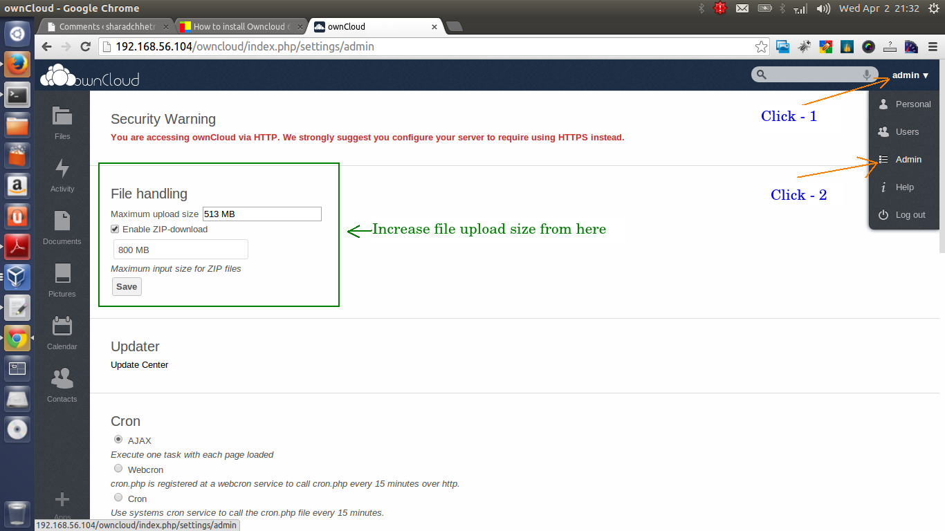 Owncloud upload limit setting
