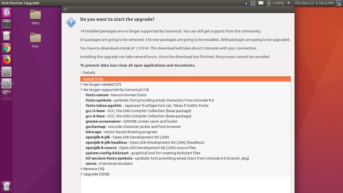 upgrade ubuntu 14 04 to 18 04